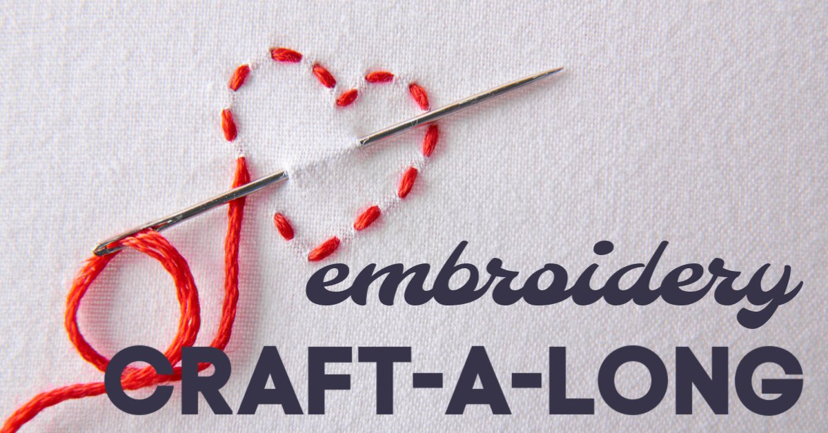 embroidery heart on white back ground Craft-A-Long free video lesson from Craft Habit Raleigh independent embroidery supply store north carolina