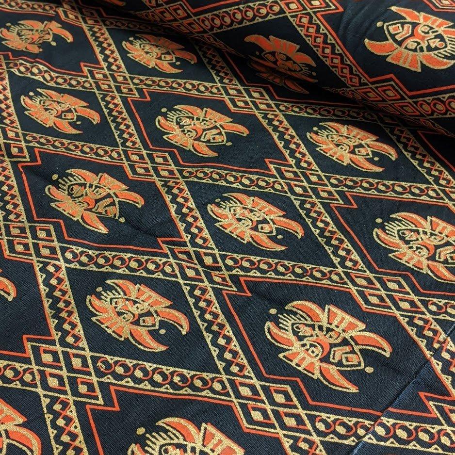 Metallic Gold & Orange Mask Print on Black Woven Cotton