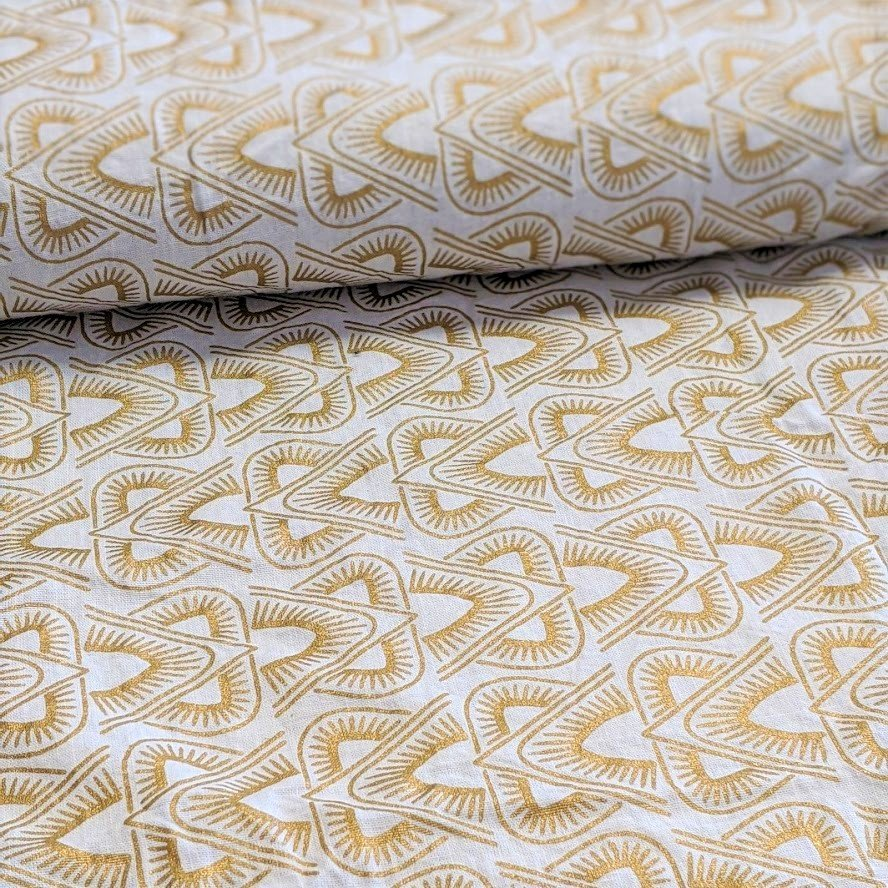 Metallic Gold Print on White Woven Cotton