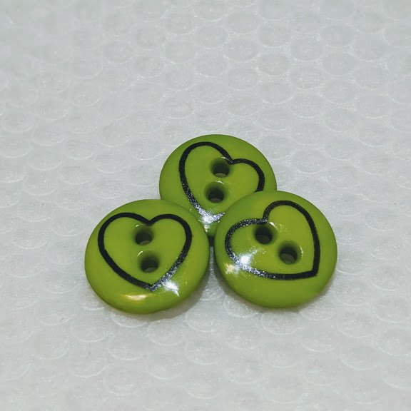 Green Heart Sketch Two Hole Button