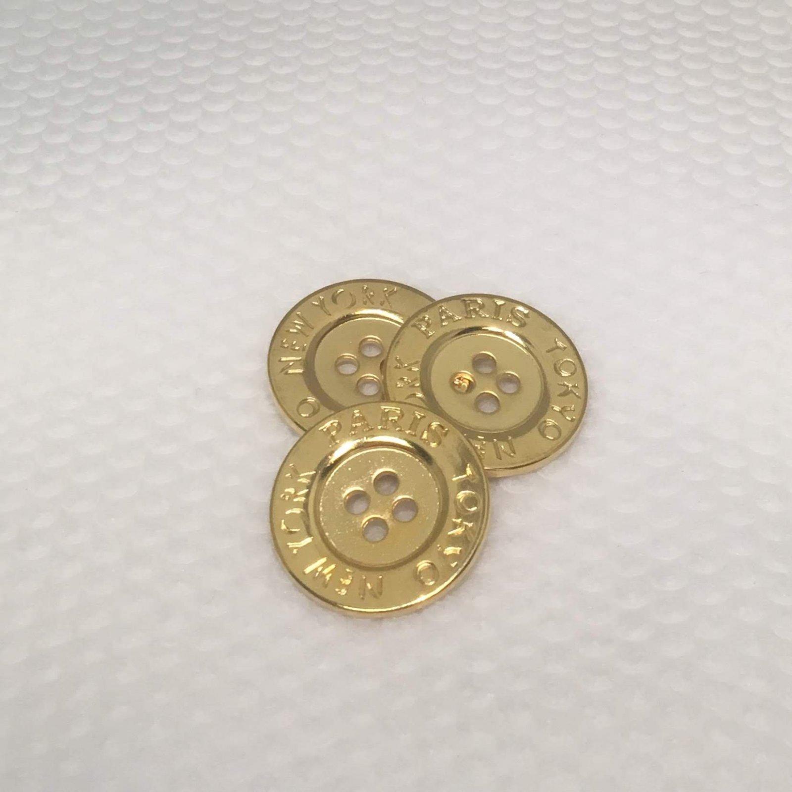 Paris-NY-Tokyo Gold Button