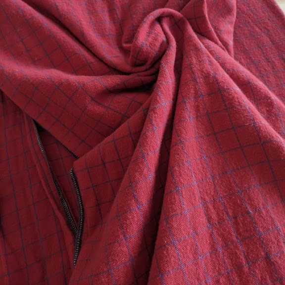 Red Windowpane Cotton Flannel