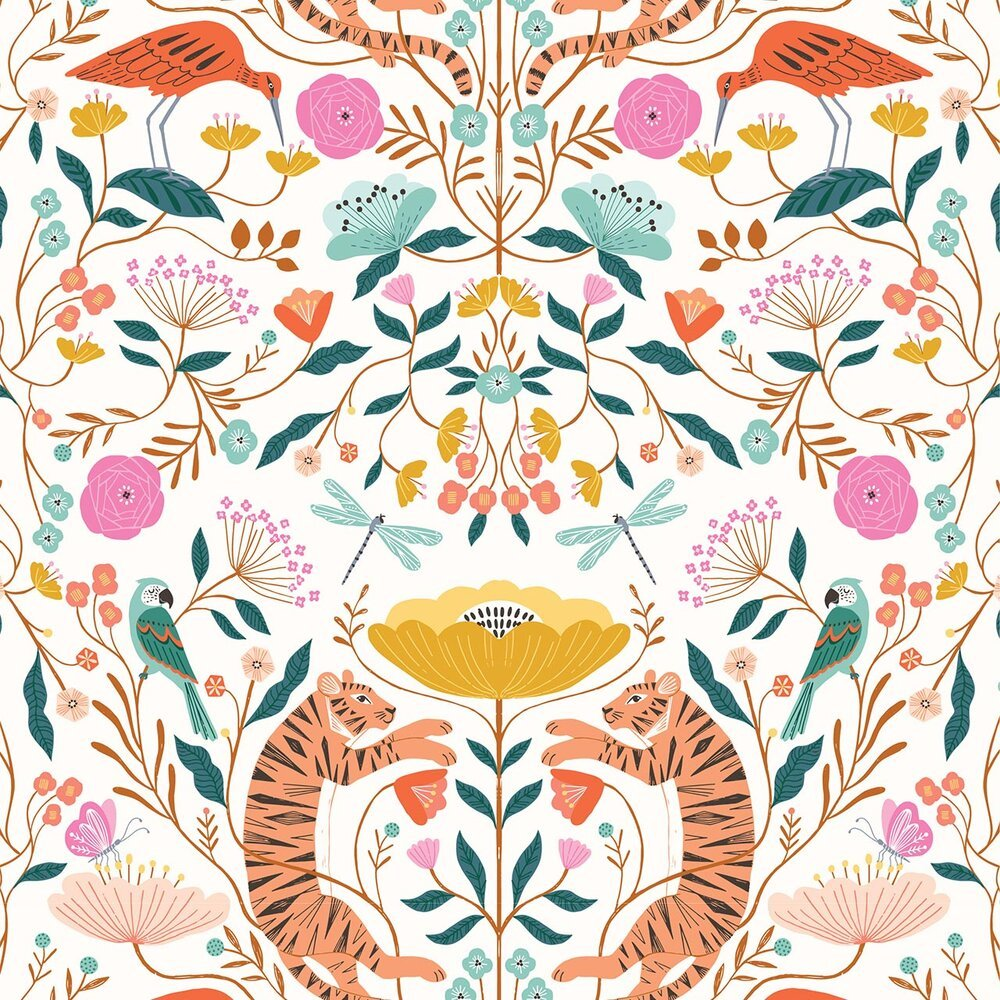 Tiger Dance in Cream - 100% cotton