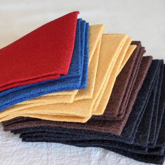 100% Wool Felt 5 x 5 sheets