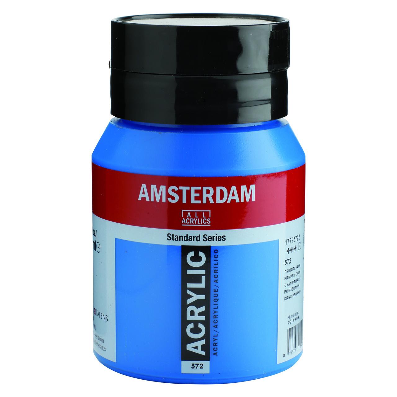 AMSTERDAM ACRYLIC 500ML PRIMARY CYAN