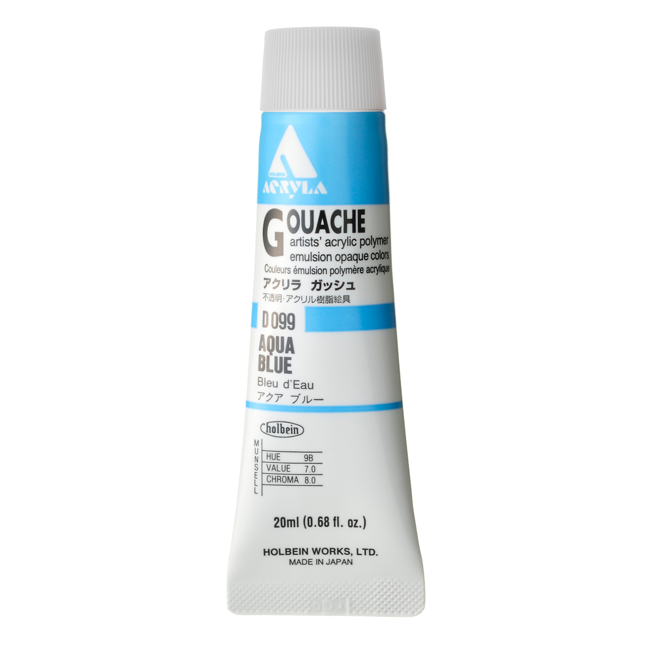 ACRYLA GOUACHE 20ML AQUA BLUE