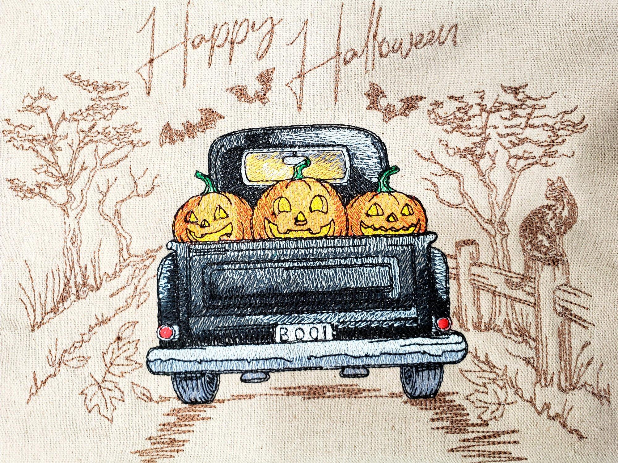 Embroidered Halloween Truck  Putty Linen Fat Quarter