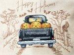 Embroidered Halloween Truck  Cream Linen Fat Quarter