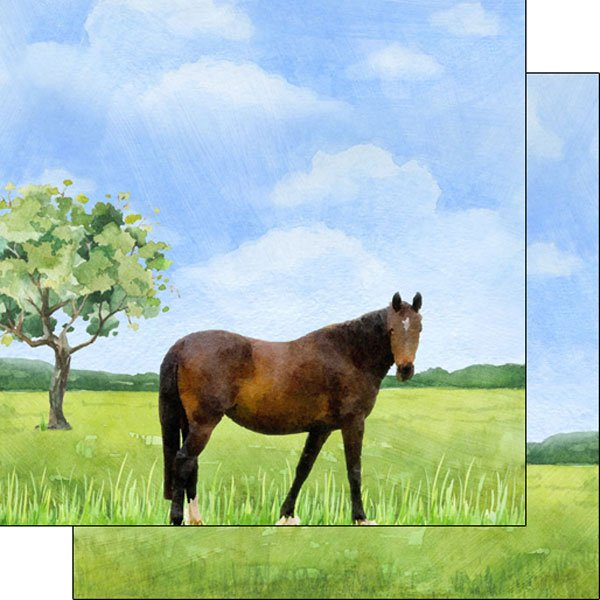 Horse Watercolor Double Sided Paper 12x12