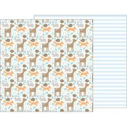 Pebbles Lullaby Double-Sided Cardstock 12X12 Woodland Baby Boy