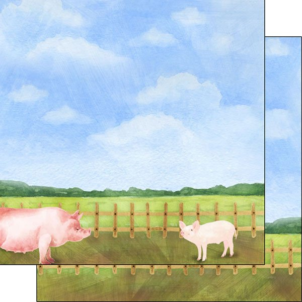 Pig Watercolor Double Sided Paper 12x12