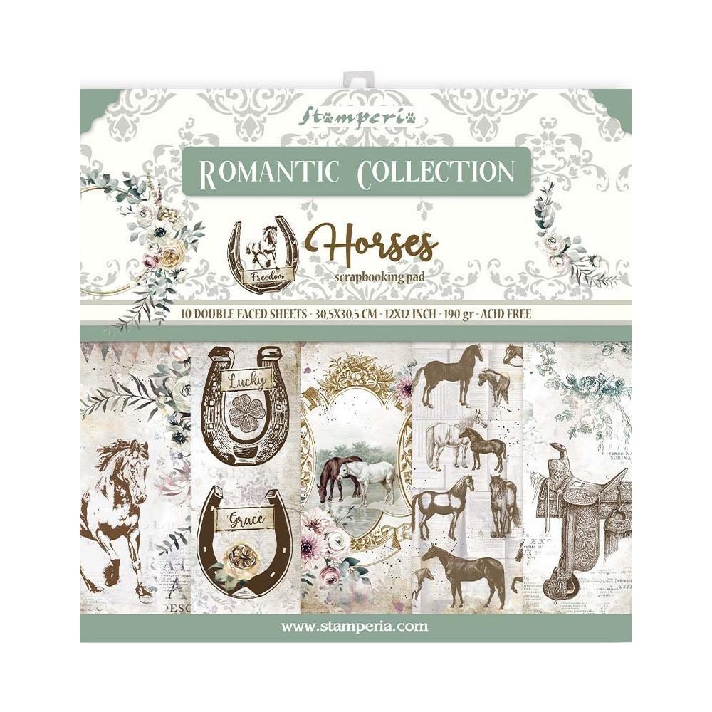 Stamperia Double-Sided Paper Pad 12X12 10/Pkg-Romantic Horses, 10 Designs/1 Ea...
