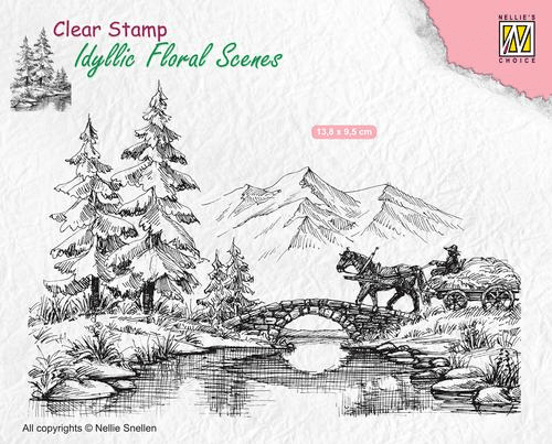Idyllic Floral Scene Stamp - Horse and Cart