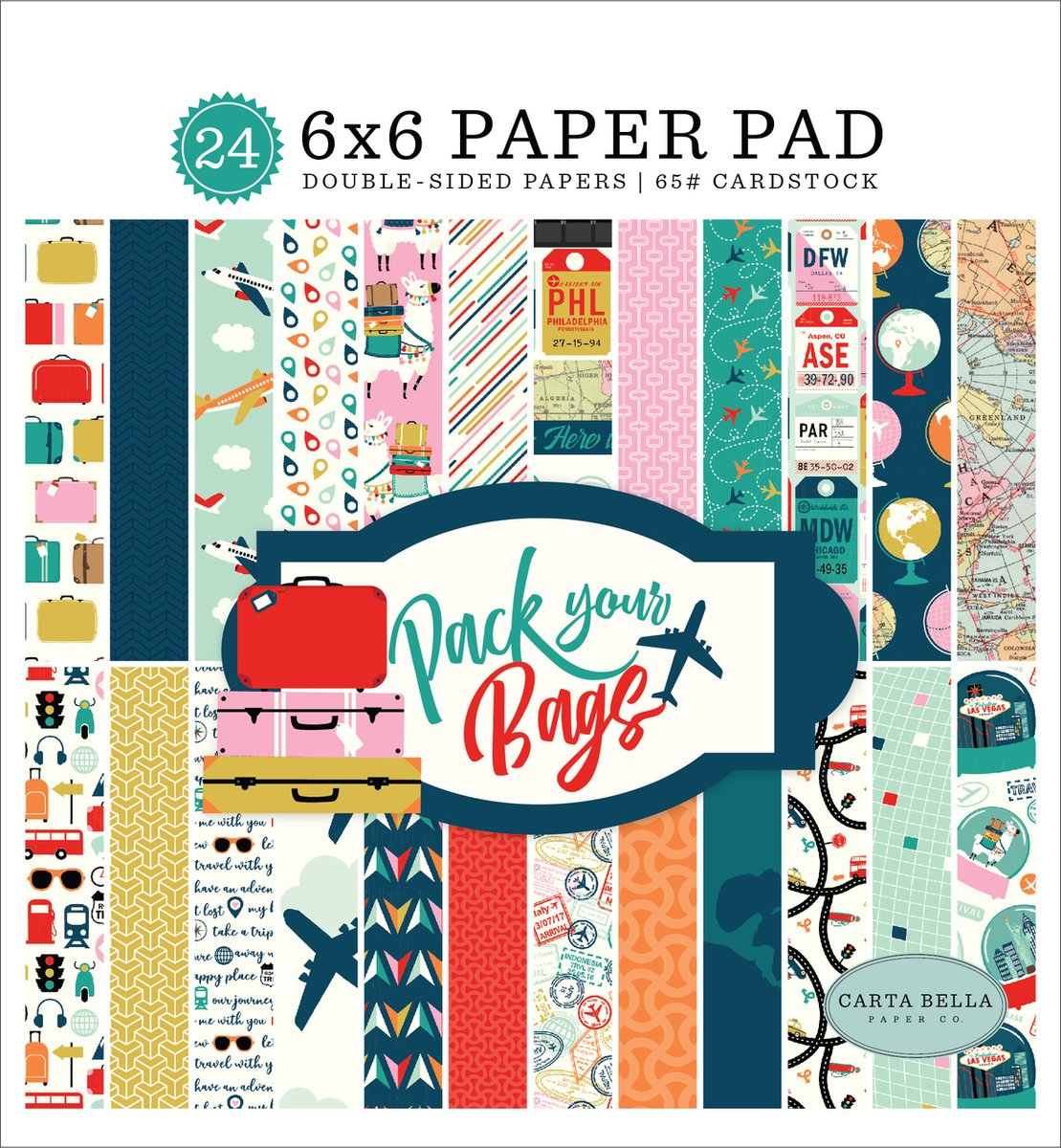 Carta Bella 6 x 6 DS Pack Your Bags, 24pk Cardstock Paper