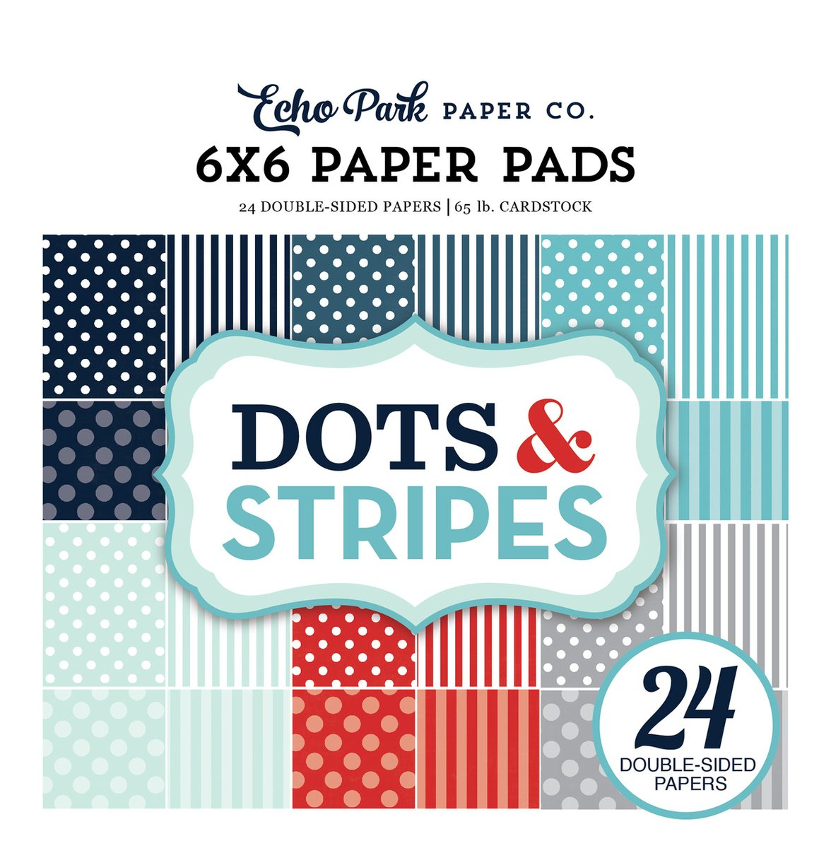 Echo Park 6 x 6 DS Winter Dots and Stripes, 24 pk Cardstock Paper