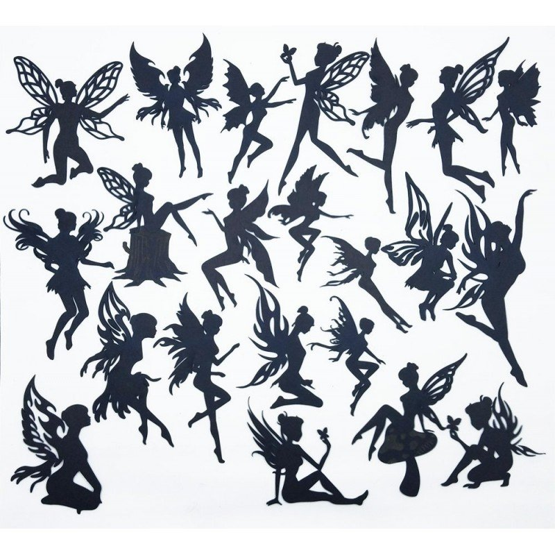 Creative Embellishments Mega Pack Fairies in Black Chipboard