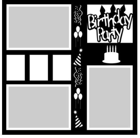 12x12 Scrapbook Overlay - Birthday Party