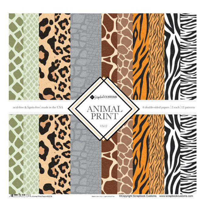 Scrapbook Customs 12x12 Animal Print Collection Paper