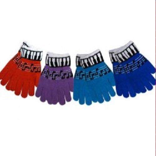 Keyboard/Music Staff Stretch Gloves - Pair