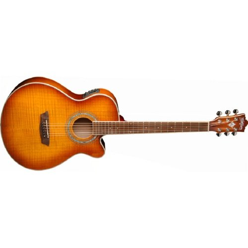 Washburn 6-string Acoustic-Electric Guitar with Flame Maple Veneer Top