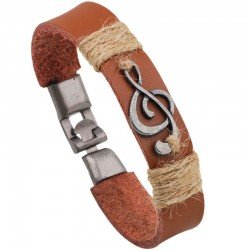 Treble Clef Leather Bracelet