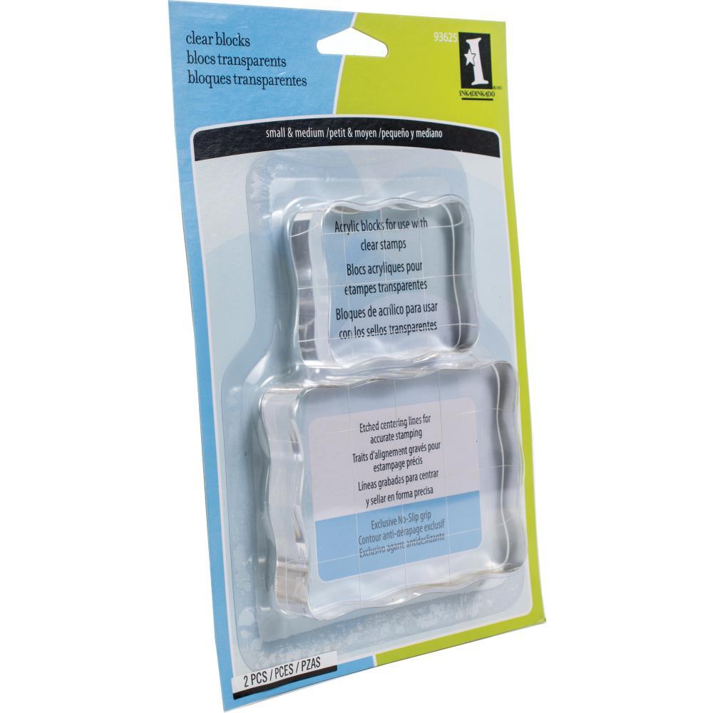 Inkadinkado Clear On Clear Acrylic Blocks 2/Pkg-Small 2.25X1.75, Medium 3.5X2.5