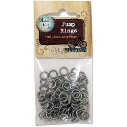 Vintage Jump Rings 8mm 100/Pkg-Antique Silver