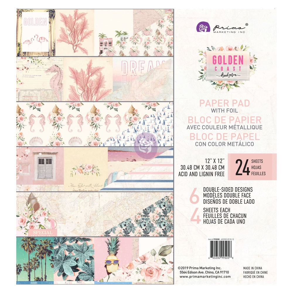 Prima Marketing Golden Coast Paper Pad w/6 Foiled Designs