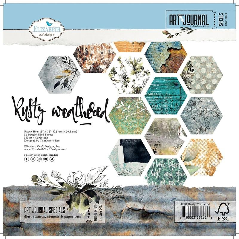 Elizabeth Crafts Double-Sided Cardstock Pack 12X12 12/Pkg-Rusty Weathered-Art ...
