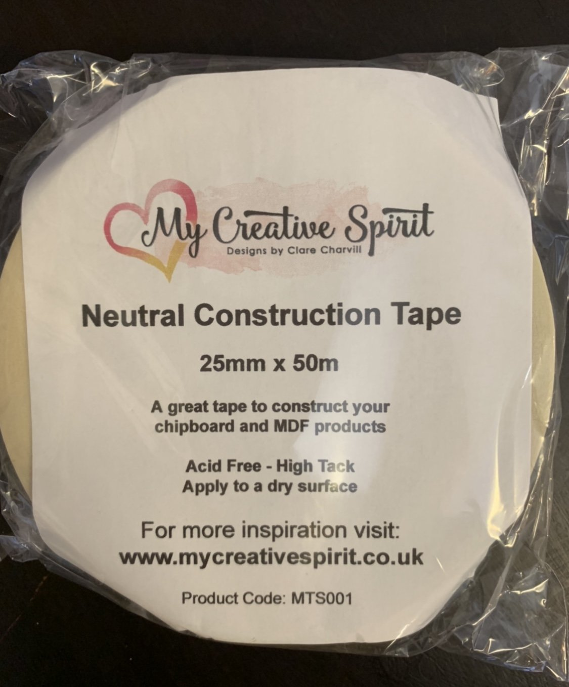 Neutral Construction Tape 25mm x 50m