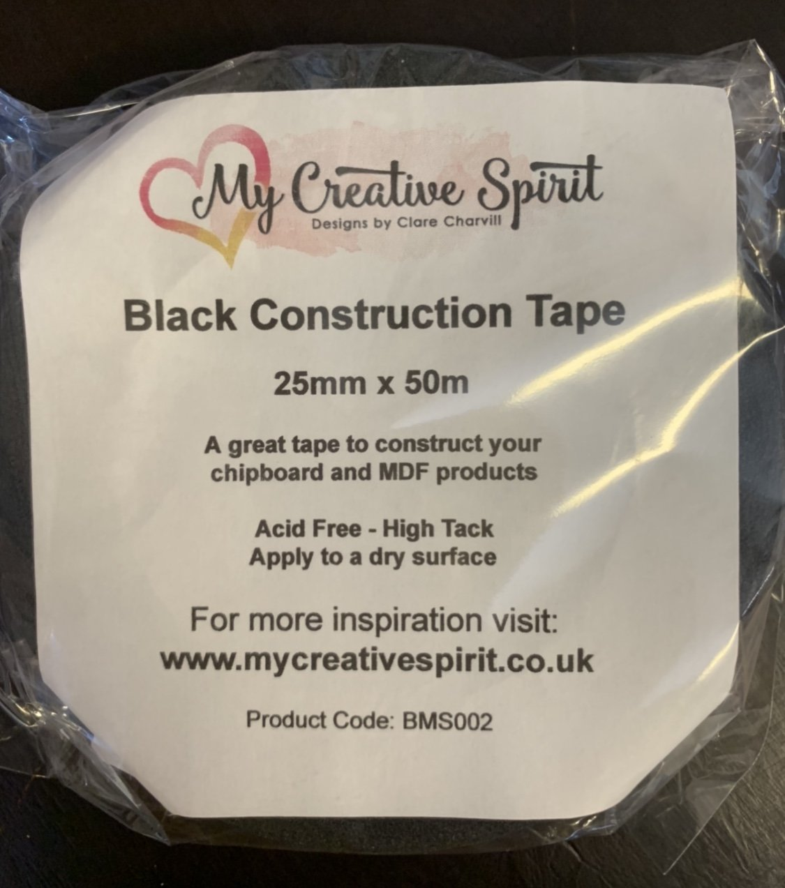 Black Construction Tape 25mm x 50m