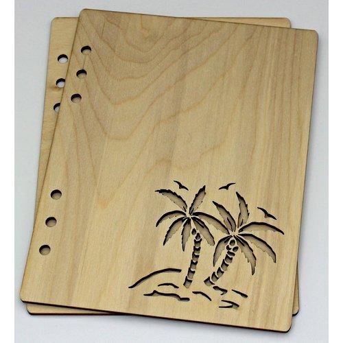 Clear Scraps - Birch Wood Laser Cut Album Covers - 6 x 8 - Palm Trees