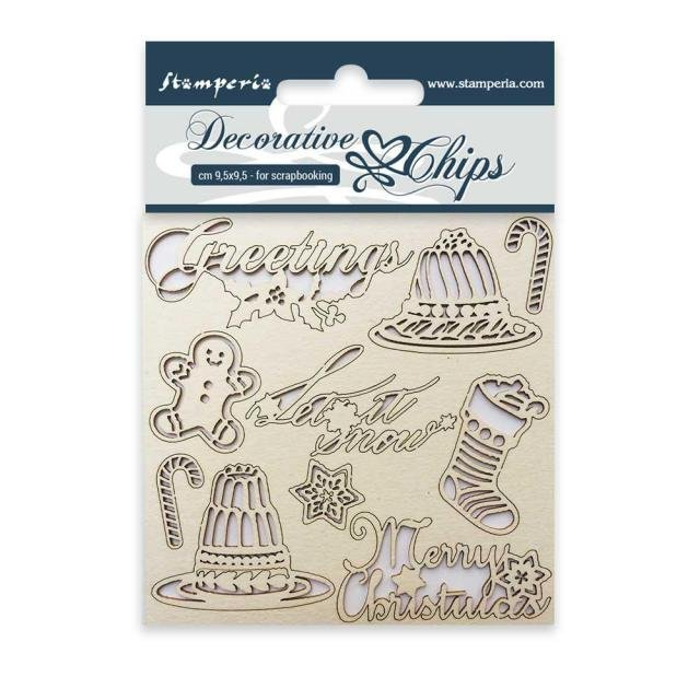 Stamperia Decorative Chips - Classic Christmas