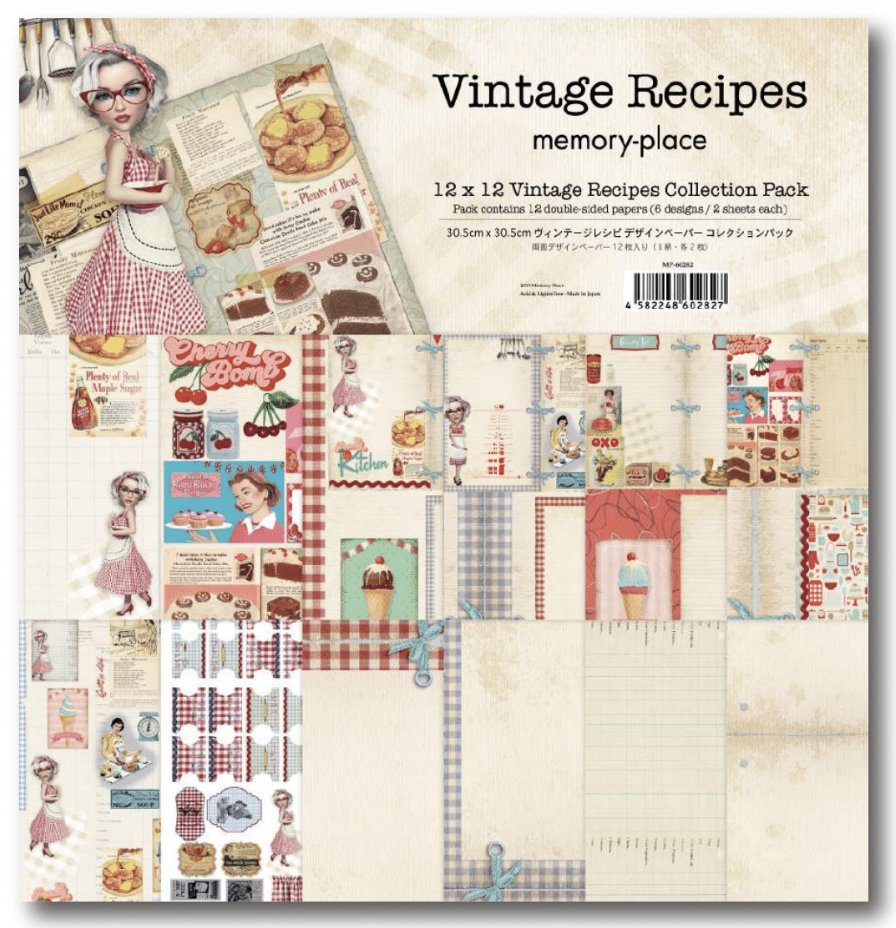 Vintage Recipes 12x12 Paper Pack