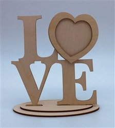 Love Wood Frame with Stand