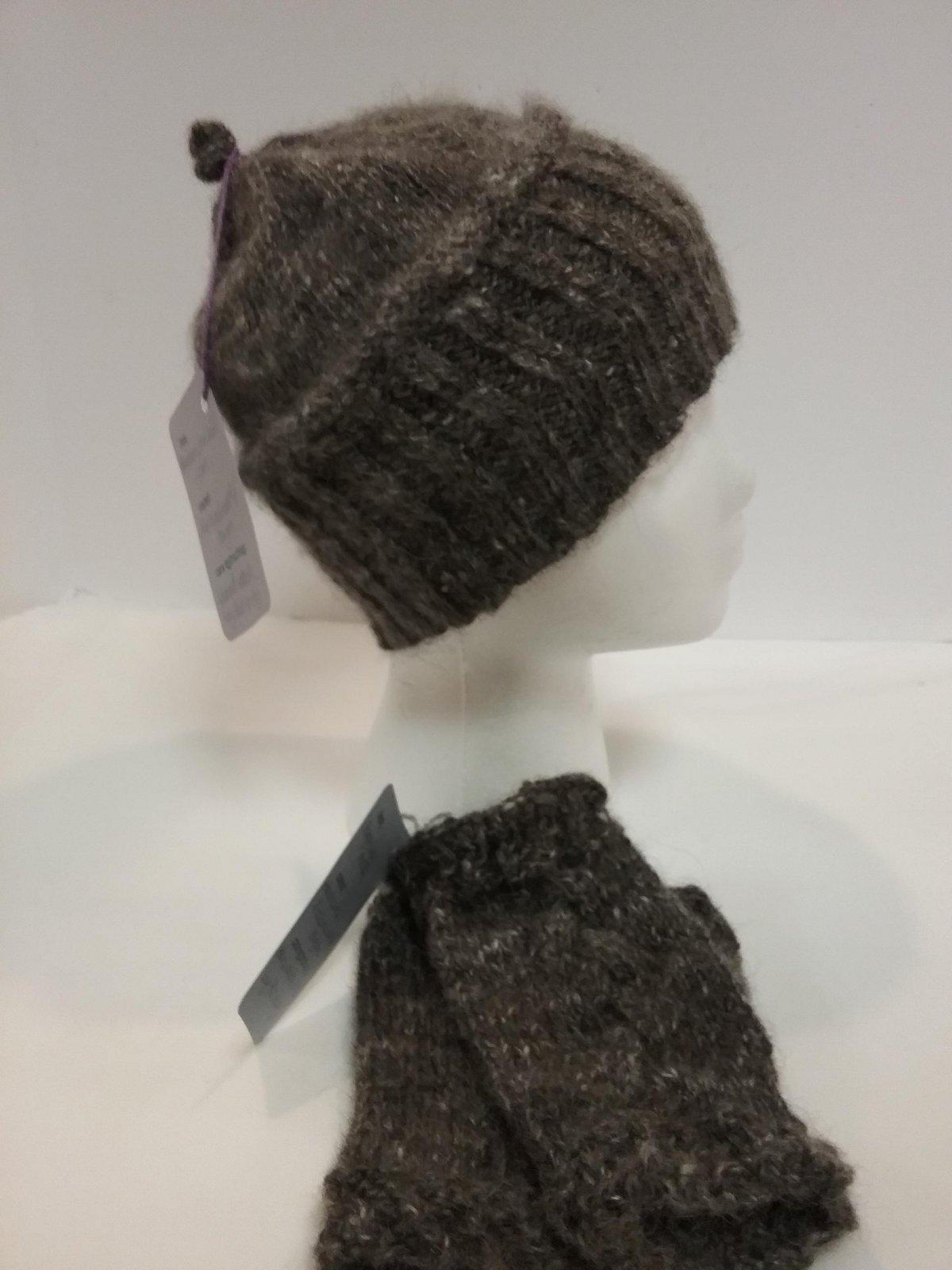 Shetland  & Angora Hat & Fingerless Mitt Set
