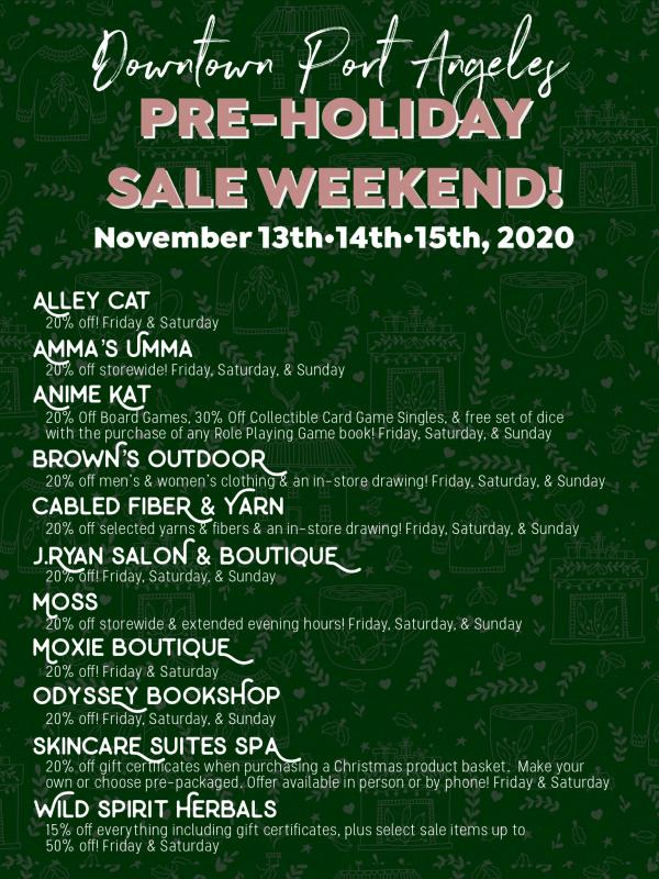 November 13-15 Pre Holiday Sale