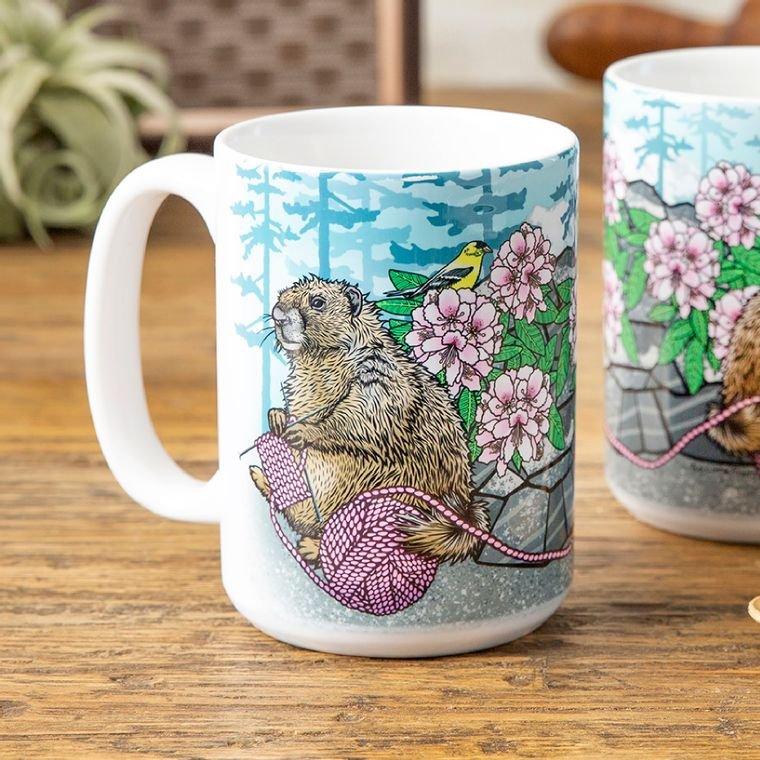 Knitting Marmot & Rhododendron 15 Oz. Ceramic Coffee Mug