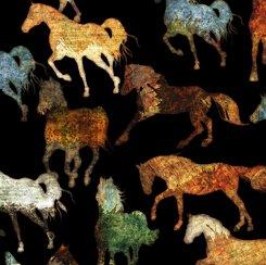 Unbridled Horses Black Minky