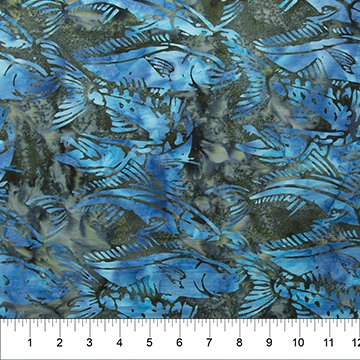Into the Deep Teal Green/Blue Fish Batik