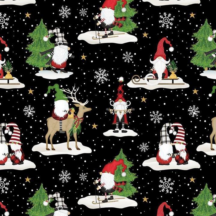 Gnomes & Reindeer on black - Gnome-Antics