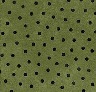 Woolies Flannel Green w/Black Polka Dots