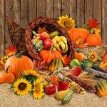 Harvest Time Cornucopia and Squash Panel