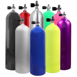Scuba tanks in a variety of colors