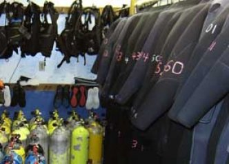 Scuba rental BCDs, Wetsuits, and air tanks