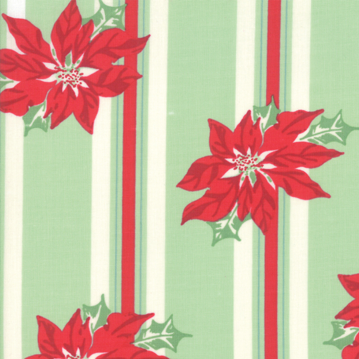 Sweet Christmas - Poinsettia Stripe Light Green-1 yard 21 inches