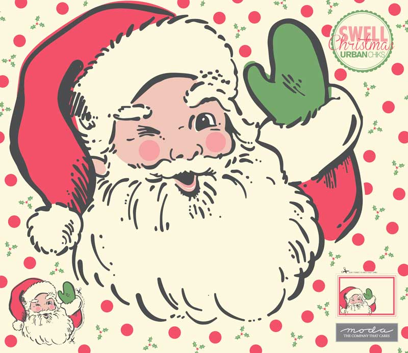 Swell Christmas Santa Applique Panel