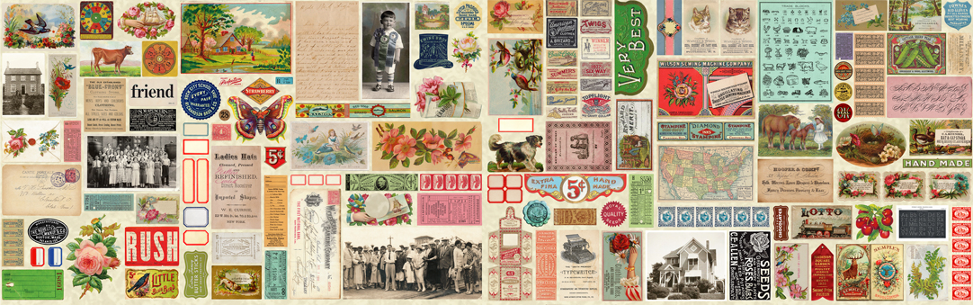 Flea Market Mix - Ephemera Flat Lay in Parchment Panel