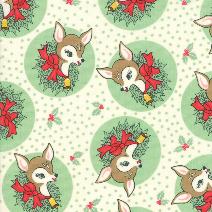 Deer Christmas - Polka Dot Deer in Spearmint