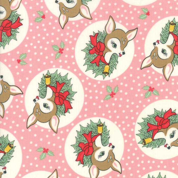 Deer Christmas - Polka Dot Deer in Pink Buttermint